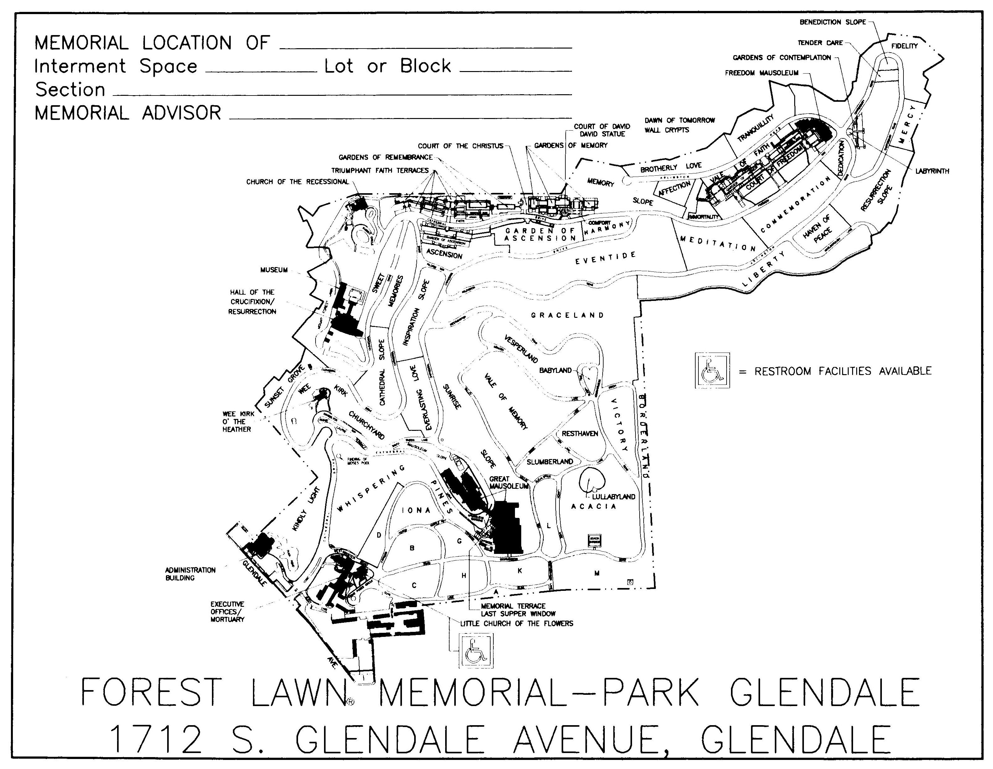 Forest Lawn Glendale Map Cemetery Maps Forest Lawn Glendale Map